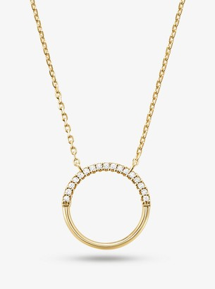 Michael Kors Precious Metal-Plated Sterling Silver Pave Circle Starter Necklace