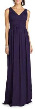 Donna Morgan Shirred V-Neck Gown