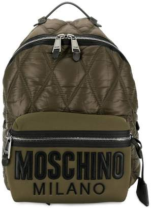 Moschino quilted brand backpack