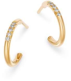 Rachel Zoe Zoë Chicco 14K Yellow Gold Pavé Diamond Huggie Earrings