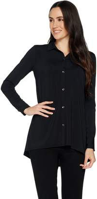 Halston H By H by Jet Set Jersey Button Front Knit Shirt