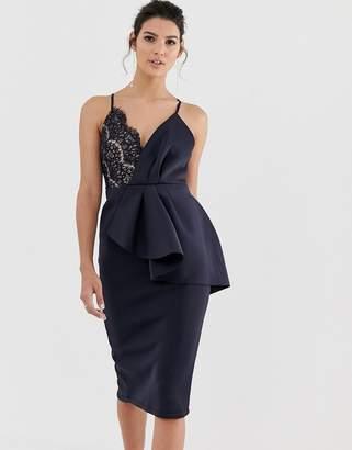 Asos Design DESIGN lace detail cami midi bodycon dress