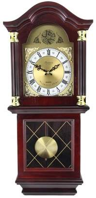 """Bedford Clock Collection 26"""" Antique Mahogany Cherry Oak Chiming Wall Clock with Roman Numerals"""
