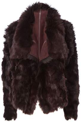 Yves Salomon Reversible Burgundy Shearling Coat