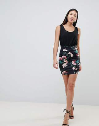 AX Paris 2-in-1 Cami Skater Dress With Tropical Floral Skirt