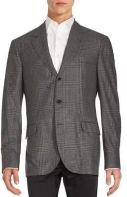 Brunello Cucinelli Plaid Sport Notch Lapel Sportcoat