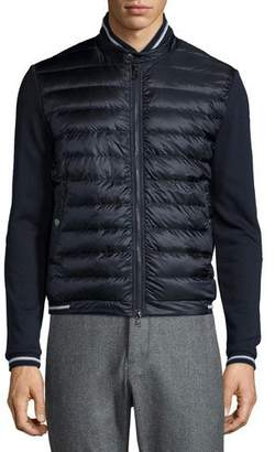 Moncler Quilted Nylon-Front Track Jacket, Navy $695 thestylecure.com