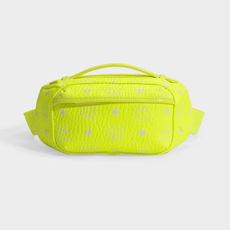 bff57a0a9 MCM Visetos Original Small Crossbody Bag In Neon Yellow Coated Canvas