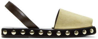 Loewe Beige Studded Suede Slingback Sandals