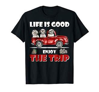 Life is Good enjoy the trip Shih Tzu Dog Camping tshirt