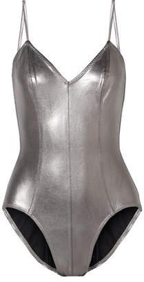 Norma Kamali Wonderwoman Mio Metallic Swimsuit - Silver