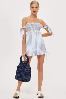 Topshop Shirred Stripe Playsuit