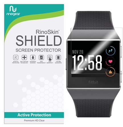[8-PACK] Fitbit Ionic Screen Protector Full Coverage RinoGear [Active Protection] Flexible HD Crystal Clear Anti-Bubble