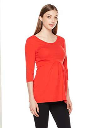 StarMomee Maternity Long Sleeve Round Neck Ruched T-Shirt Classic Tops Pregnancy Clothes (