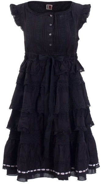 I'M ISOLA MARRAS - Black cotton peasant dress