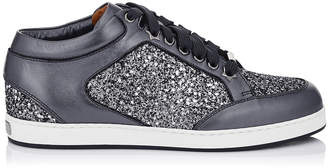 Jimmy Choo MIAMI Gunmetal Mix Star Coarse Glitter Fabric and Metallic Nappa Sneakers