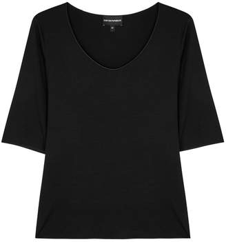 Emporio Armani Black Stretch-jersey Top