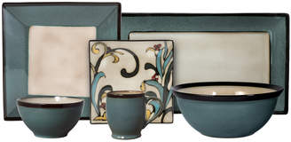 Mikasa Gourmet Basics Square Blue Leaves Service for 8 With Serveware