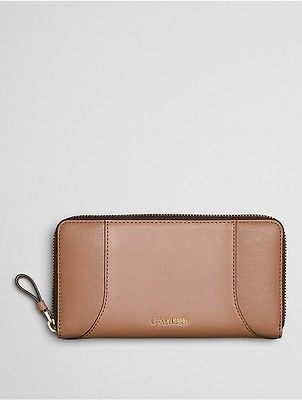 Calvin Klein Calvin Klein Womens Smooth Leather Large Zip Wallet Caramel