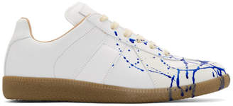 Maison Margiela White and Blue Painter Sneakers
