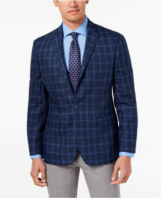 Ryan Seacrest Distinction Men's Modern-Fit Navy Windowpane Linen Sport Coat, Created for Macy's