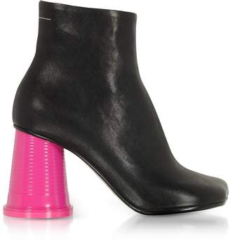 Maison Margiela Black Leather Ankle Boots w/Pink Cup Heels