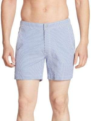 Saks Fifth Avenue COLLECTION Gingham-Checkered Swim Trunks