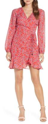 Adelyn Rae April Print Long Sleeve Ruched Dress