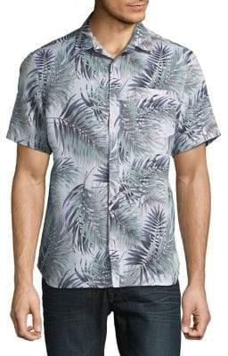 Black & Brown Black Brown Floral Linen Short-Sleeve Shirt