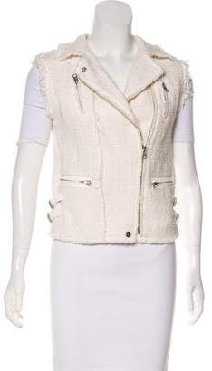 Rebecca Taylor Leather-Accented Tweed Vest