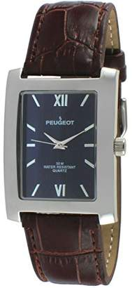 Peugeot Rectangle Men's Everyday Leather Band Luxury Dress Business Watch 2033