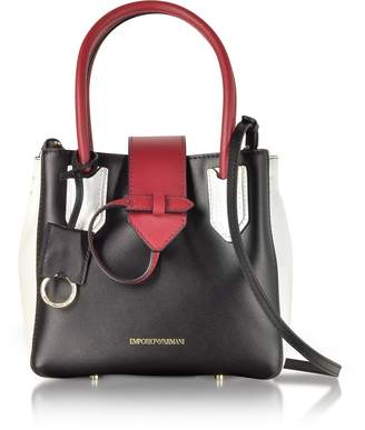 Emporio Armani Black, Red and White Leather Satchel Bag