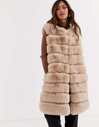Jayley stripe faux fur longline vest