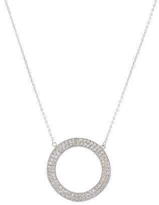 Kenneth Jay Lane Silver Round CZ Pave Wavy Circle Necklace
