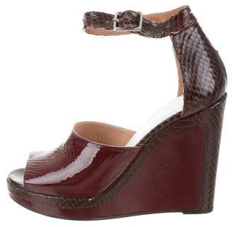 Maison Margiela Python-Trimmed Wedge Sandals
