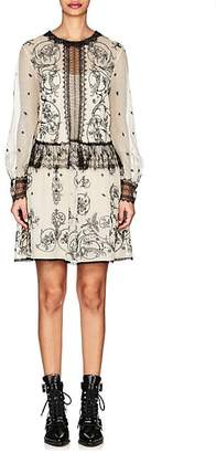 Alberta Ferretti Women's Floral-Lace-Embellished Mesh Minidress - White