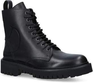 Valentino Leather Combat Boots