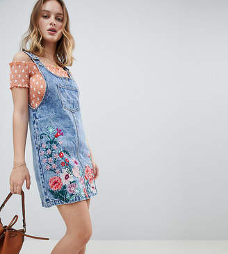 Glamorous Petite Mini Pinafore Dress With Floral Embroidery In Denim