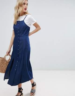 Warehouse Cami Strap Split Front Chambray Dress