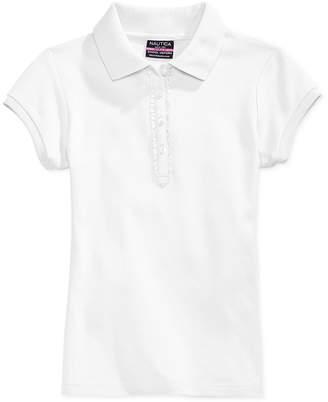 Nautica School Uniform Ruffle Button Placket Polo, Big Girls