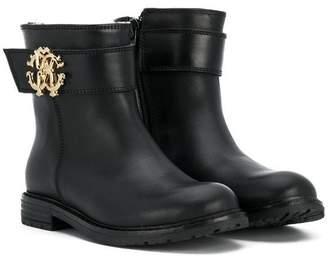 Roberto Cavalli Junior logo plaque ankle boots