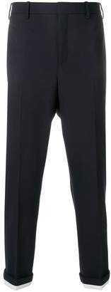 Neil Barrett contrast rolled cuff trousers