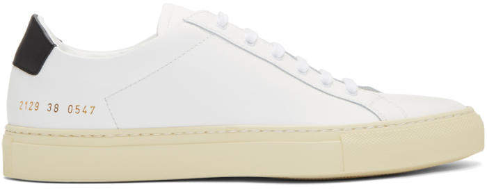 Common Projects White and Black Achilles Retro Low Sneakers