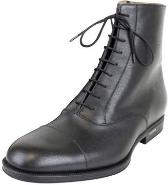 Gucci Men's Leather Side Zip Lace-up Ankle Boots 322481 1000