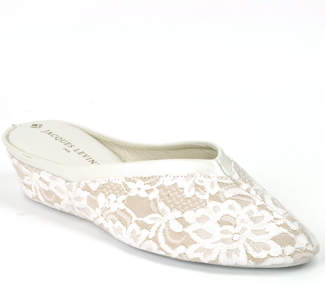 Jacques Levine 4640 - Lace Wedge Slipper