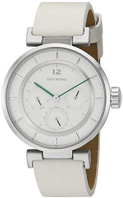 Issey Miyake (イッセイ ミヤケ) - イッセイミヤケ' W Mini ' Quartzステンレススチールand WhiteレザーCasual Watch ( Model : nyab001y )