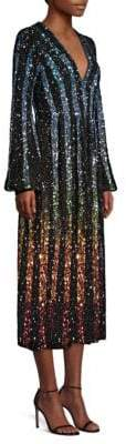Saloni Camille Rainbow Sequin Silk A-Line Midi Dress