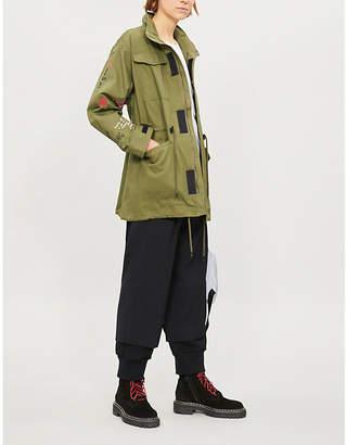 Izzue Slogan-embroidered cotton jacket
