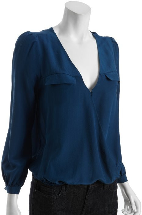Joie midnight silk surplice v-neck pocketed 'Istanbul' blouse