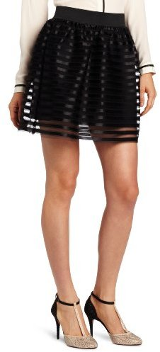 Necessary Objects Juniors' Satin Stripe Skirt